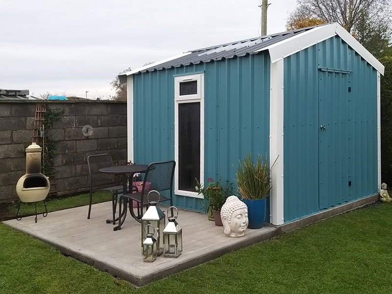 3.2m x 3m Bronze Range Garden shed with large uPVC window in Wedgewood Blue Shanette Sheds