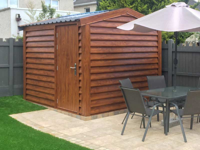 Silver Range garden shed with plank effect upgrade