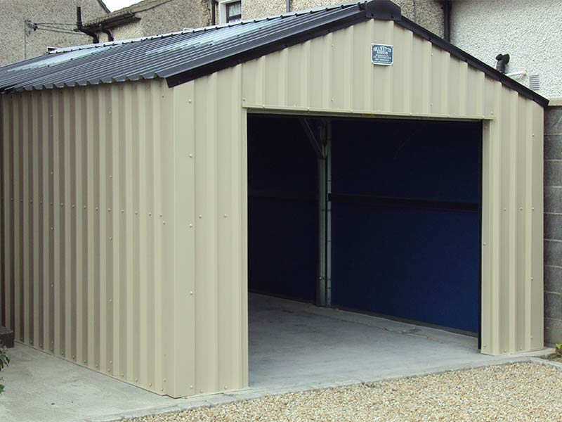 20' X 12' Silver Range garage with Mushroom vertical cladding & black roof Shanette Sheds