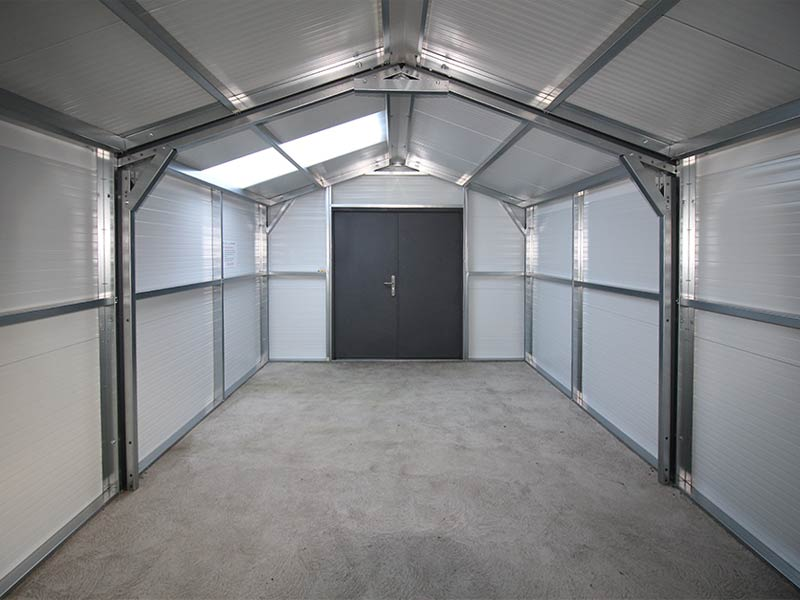 6.2m x 4m Gold Range interior with double security doors Shanette Sheds