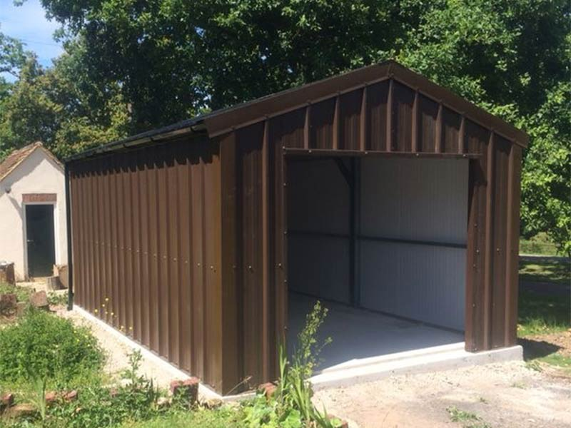 6.2m x 4m Gold Range unit with Brown vertical profile cladding Shanette Sheds