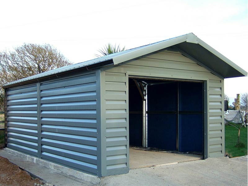 6.2m x 4m Silver Range Merlin Grey garage with shiplap upgrade and overhang Shanette Sheds