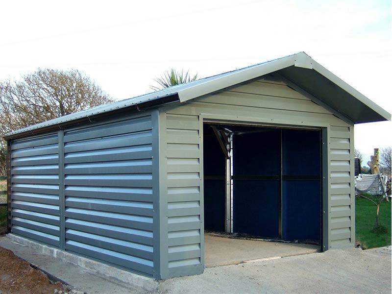 20' x 12' Silver Range Merlin Grey garage with shiplap upgrade and overhang Shanette Sheds