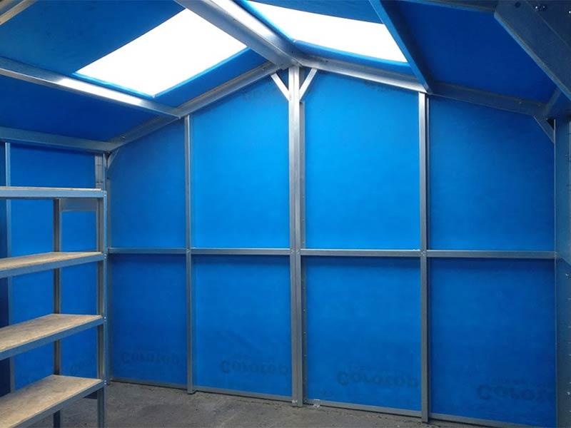 6.2m x 4m Silver Range blue felt interior Shanette Sheds