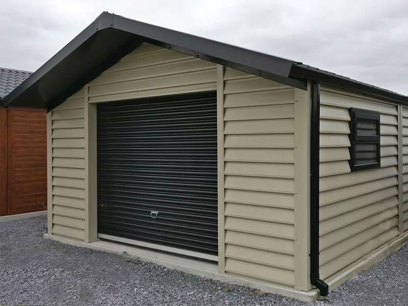 20' x 15' Silver range garage with Mushroom plank effect upgrade, overhang & window Shanette Sheds