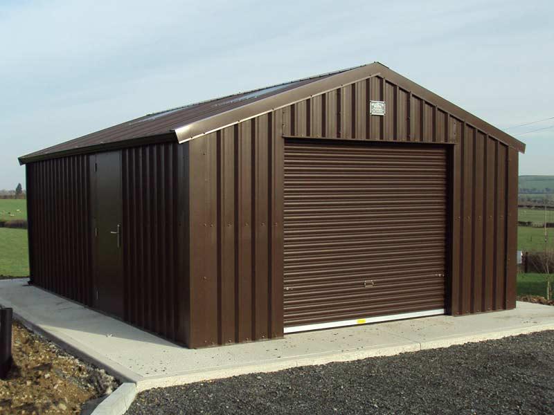 20' x 20' Silver Range Garage with Brown vertical cladding steel door Shanette Sheds 800x600