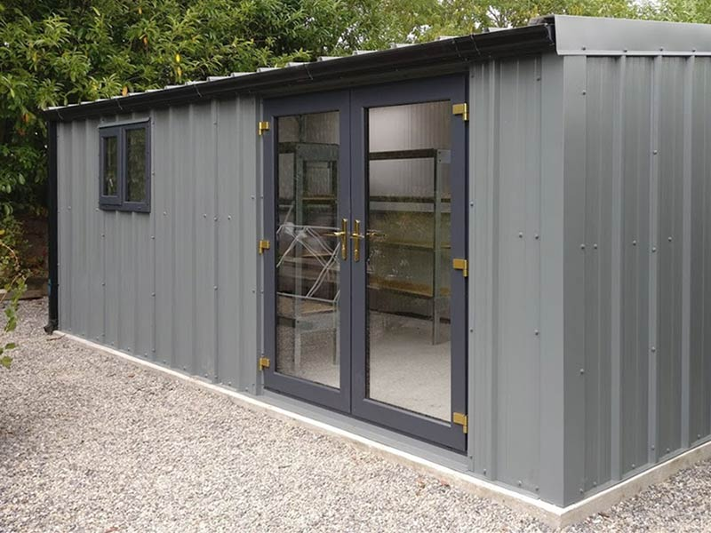 6.2m x 3m Home office Sloped Roof Gold Range Unit with vertical cladding Shanette Sheds