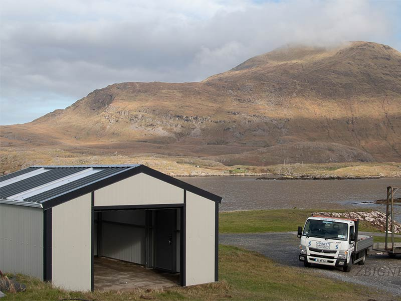 30' x 15' Gold Range Garage with flat panel in Goosewing Grey Shanette Sheds