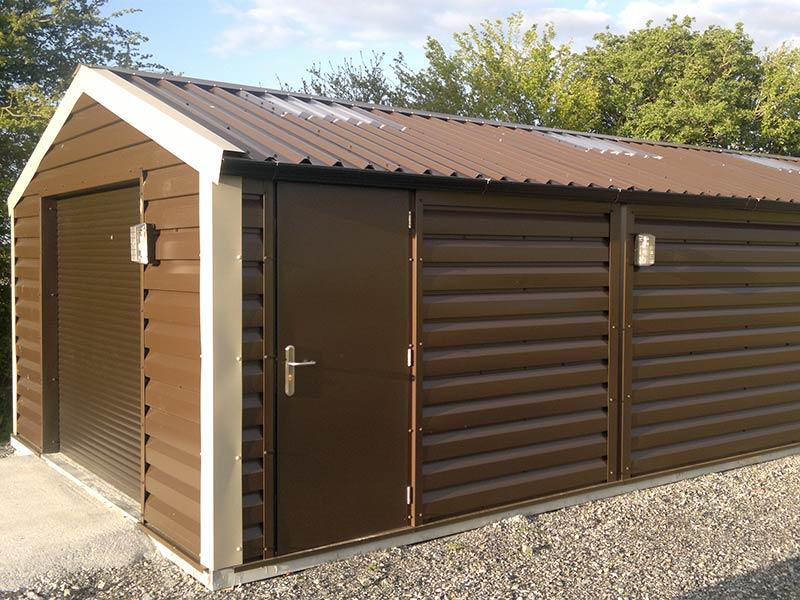 30' x 15' Silver Range Garage Brown Shiplap with steel door Shanette Sheds