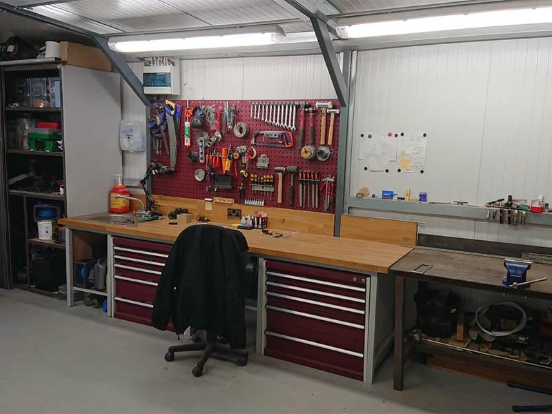 Gold Range garage interior Shanette Sheds