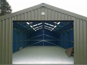 15.2m x 6m Silver Range Garage with Olive Green vertical cladding Shanette Sheds