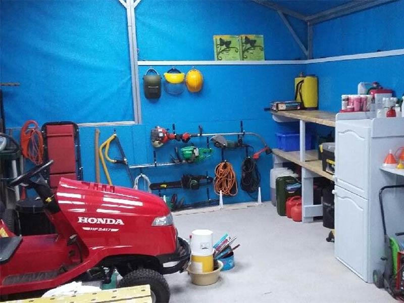 Silver Range garage interior Shanette Sheds