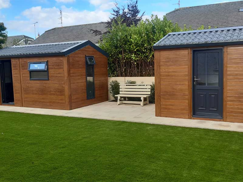 golden oak flat panel with tiled roof