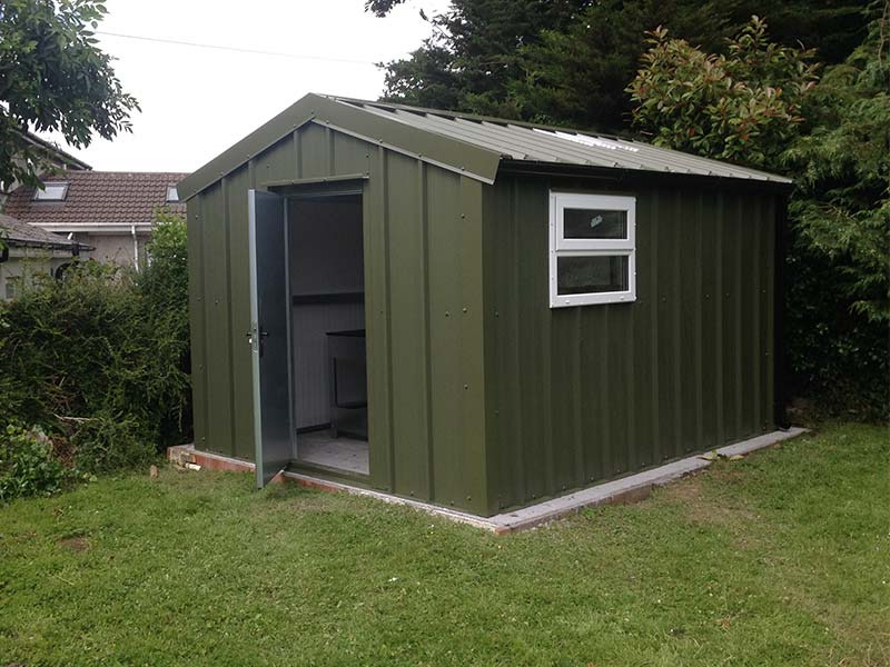 3.2m x 3m Gold Range Garden shed with vertical profile cladding steel door and window door Shanette Sheds