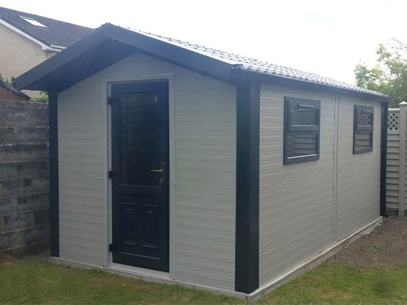 16' x 9'6 Gold Range garden room with overhang, PVC door & windows Shanette Sheds
