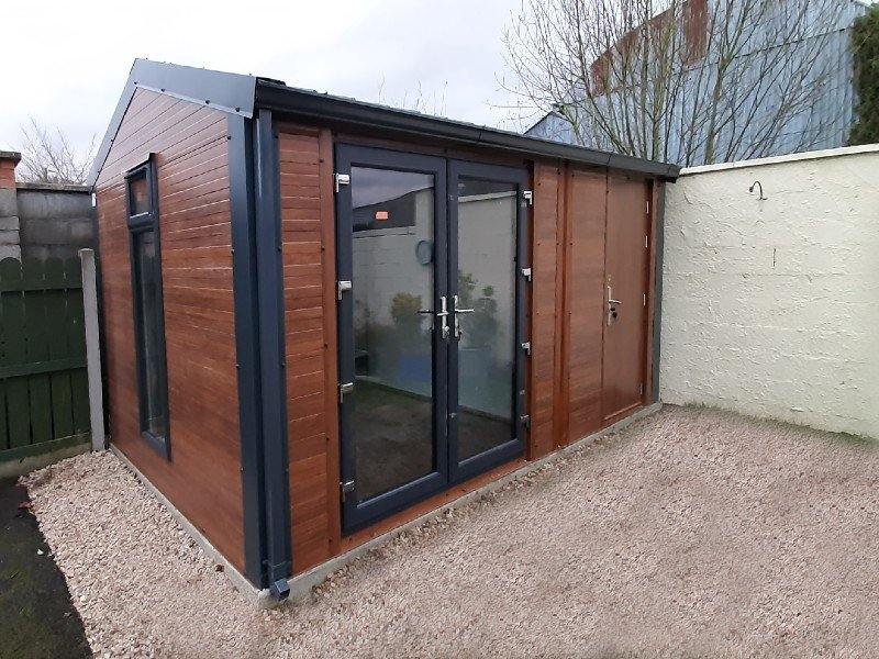 5.2m x 3m Gold Range unit with French doors, steel door & window. Shanette Sheds