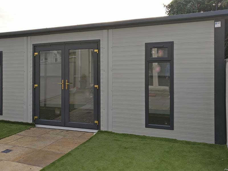 6.2m x 3m Gold Range Garden Room with flat panel with French doors long windows Shanette Sheds