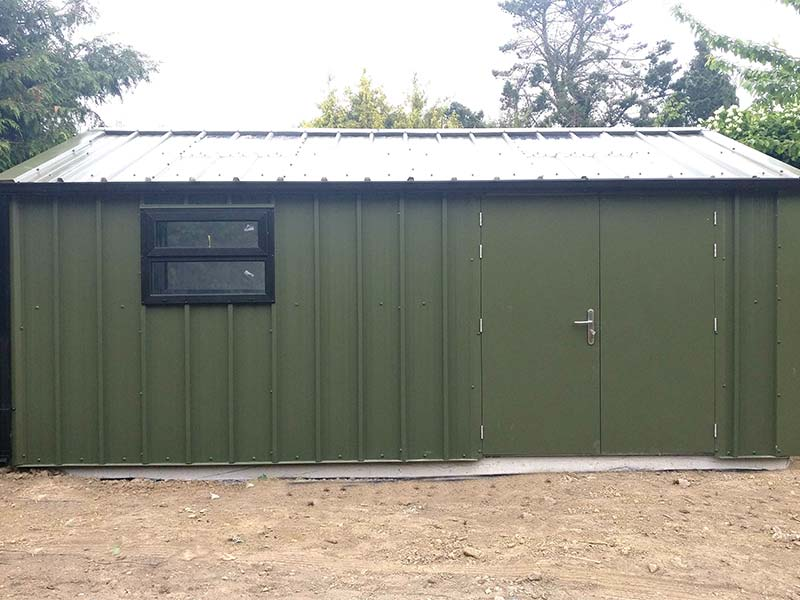6.2m x 3m Gold Range Olive Green Unit with vertical profile, double doors & window