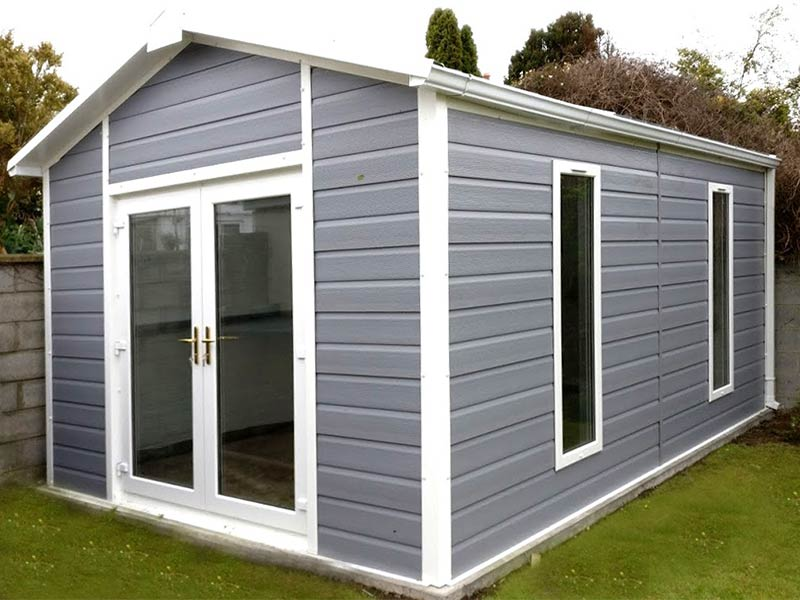 20' x 9'6 Gold Range garden room with PVC Fortex exterinal finish & French Doors Shanette Sheds