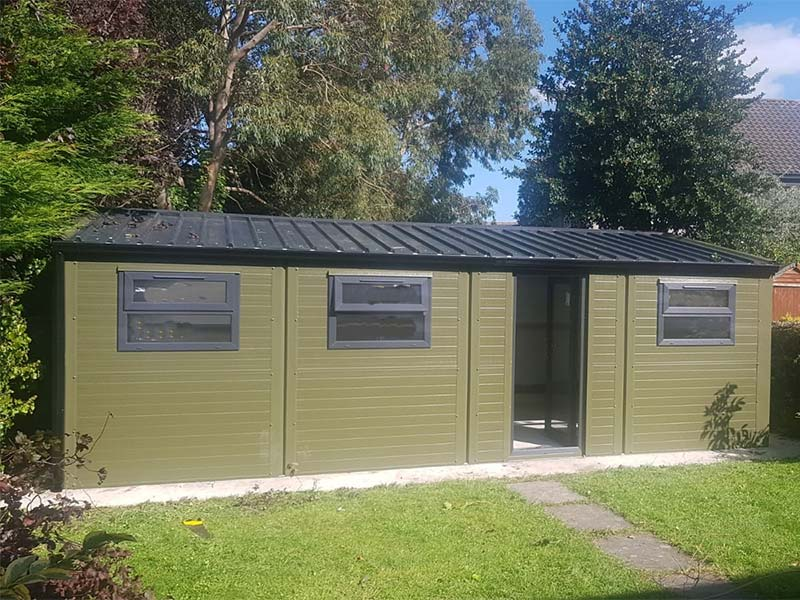 9.2m x 3m Gold Range with Olive Green flat panel, uPVC door & windows Shanette Sheds