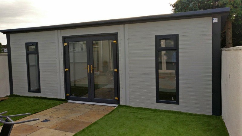 6m x 3m Garden Room Goosewing Grey, French Doors and 2no windows