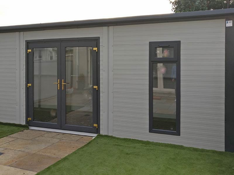 Gold Range Garden Room with French Doors and 2 Narrow Windows