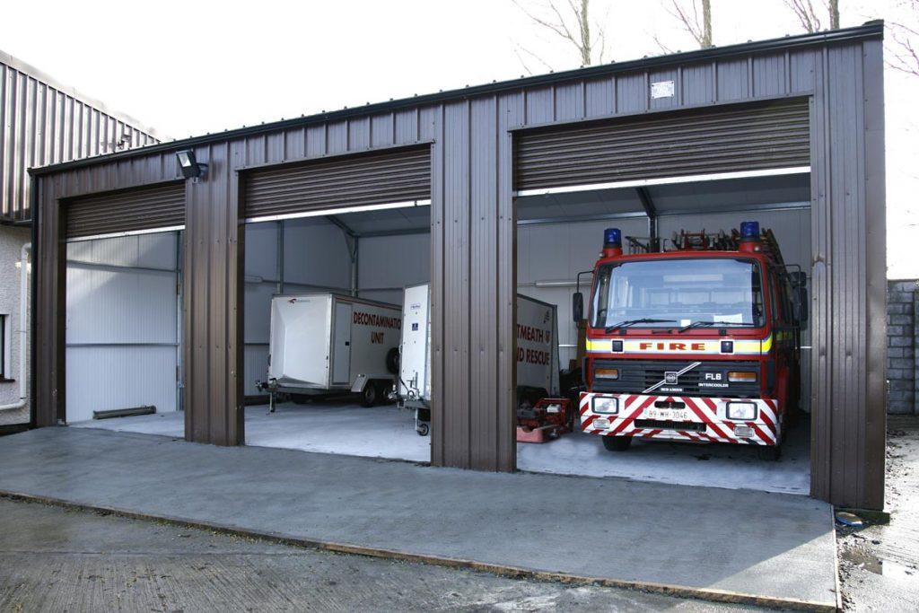 12.2m x 7m Gold Range vertical cladding Mullingar Fire Station, Shanette Sheds