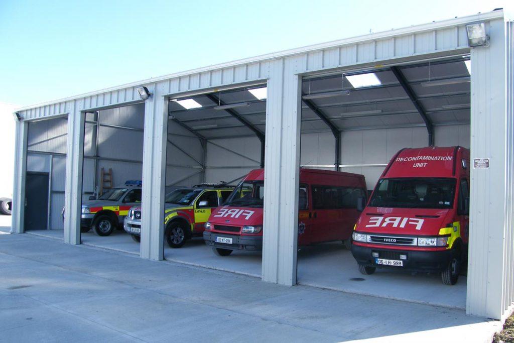 18.2m x 9.2m Gold Range vertical Goosewing Grey, Drogheda Fire station, Shanette sheds