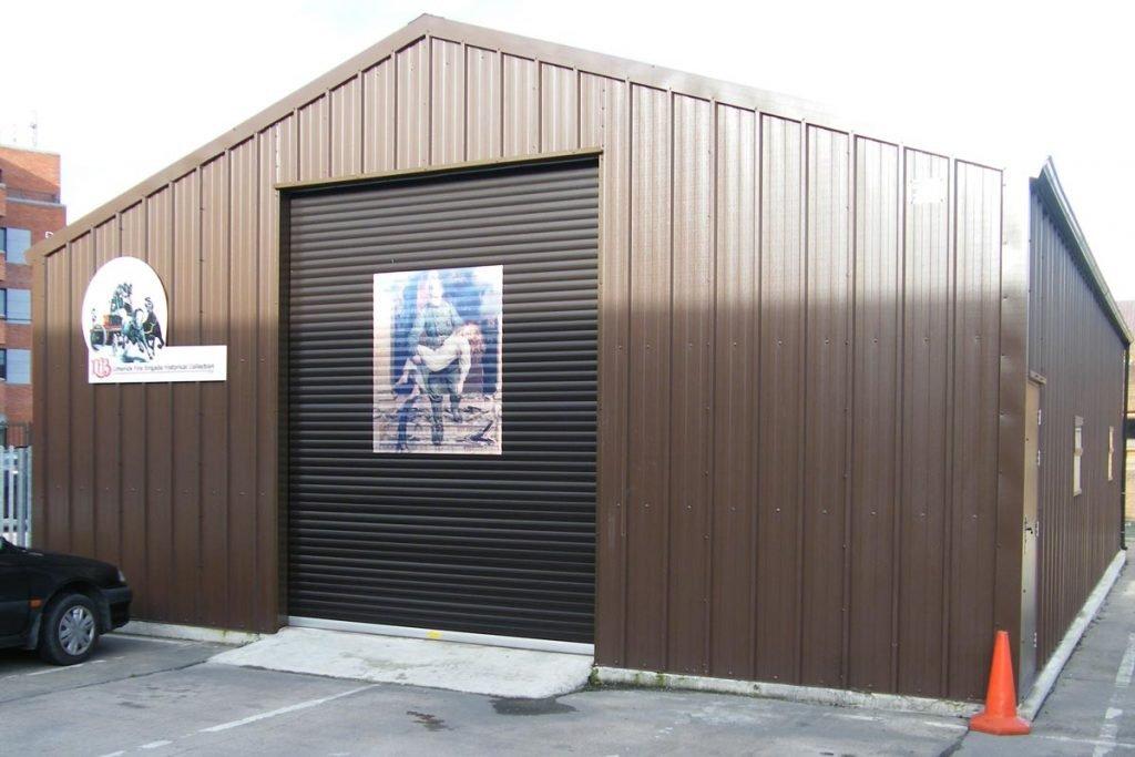 15.2m x 9.2m Gold Range vertical cladding unit, Limerick Fire Station, Shanette Sheds