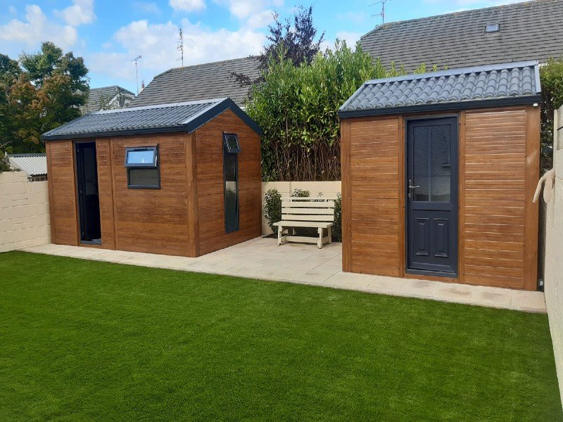 3.2m x 3m & 4.2m X 3m Golden Oak Flat Panel Home Offices with tile roof